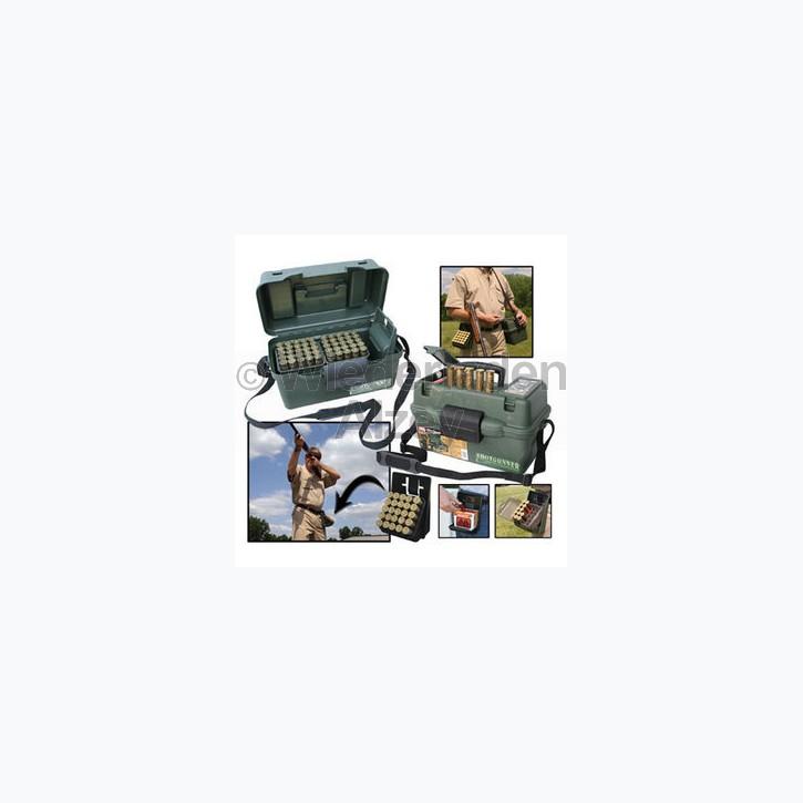 MTM, Schrotpatronenbox für 100 Patronen .12, Camo, mit 4 herausnehmbaren Rastern für je 25 Patronen, Art.-Nr.: SH-100-12-09