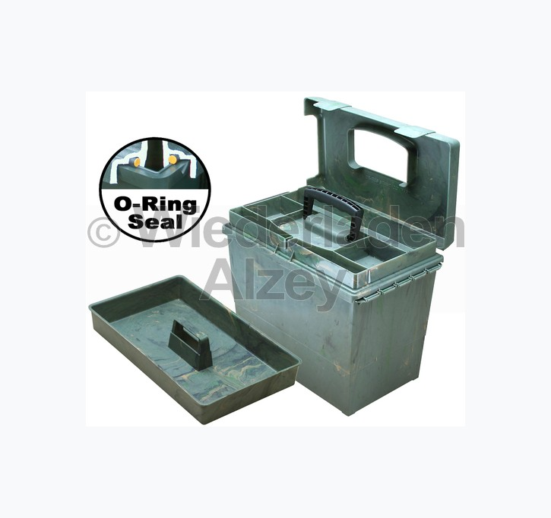 MTM, wasser- und witterungsbeständige Transportbox mit 2 Einsätzen, Größe 38 x 23 x 33 cm, Waldgrün, O-Ring gedichtet, Art.-Nr.: SPUD-2-11