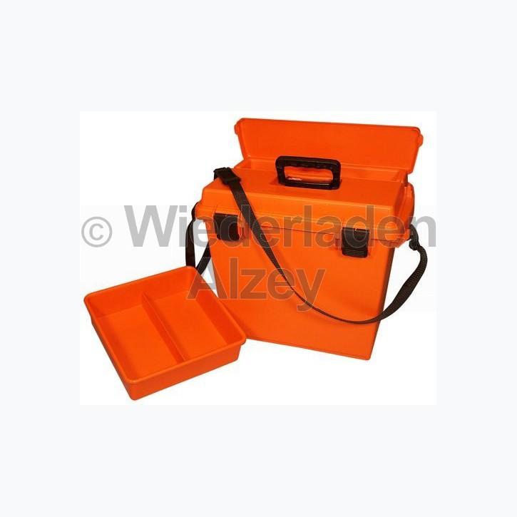 MTM, wasser- und witterungsbeständige Transportbox mit 2-geteilten Einsatz zum herausnehmen, Größe 47 x 33 x 38 cm, Orange, O-Ring gedichtet, Art.-Nr.: SPUD-7-35