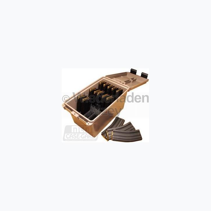 MTM Magazintransport- und Aufbewahrungsbox für 15 Stück 30 Schuss Magazine, mit O-Ring im Deckel daduch wasserdicht, mit Vorhängeschloss verschließbar, Farbe beige, Art.-Nr.: TMC-15