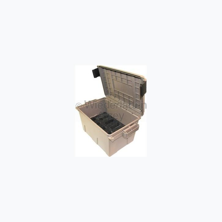 MTM Magazintransport- und Aufbewahrungsbox für 9 AK-47 Magazine, mit O-Ring im Deckel daduch wasserdicht, mit Vorhängeschloss verschließbar, Farbe beige, Art.-Nr.: TMCAK