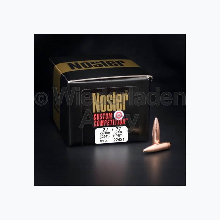 .224, 77 grain, Nosler Geschosse, CUSTOM COMPETITION HPBT, Art.-Nr.: 22421