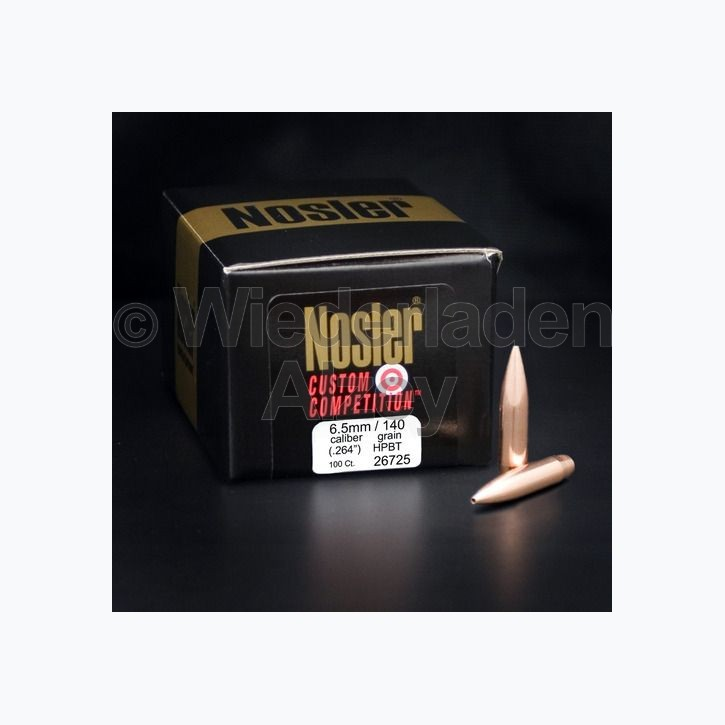 .264, 140 grain, Nosler Geschosse, CUSTOM COMPETITION HPBT, Art.-Nr.: 26725
