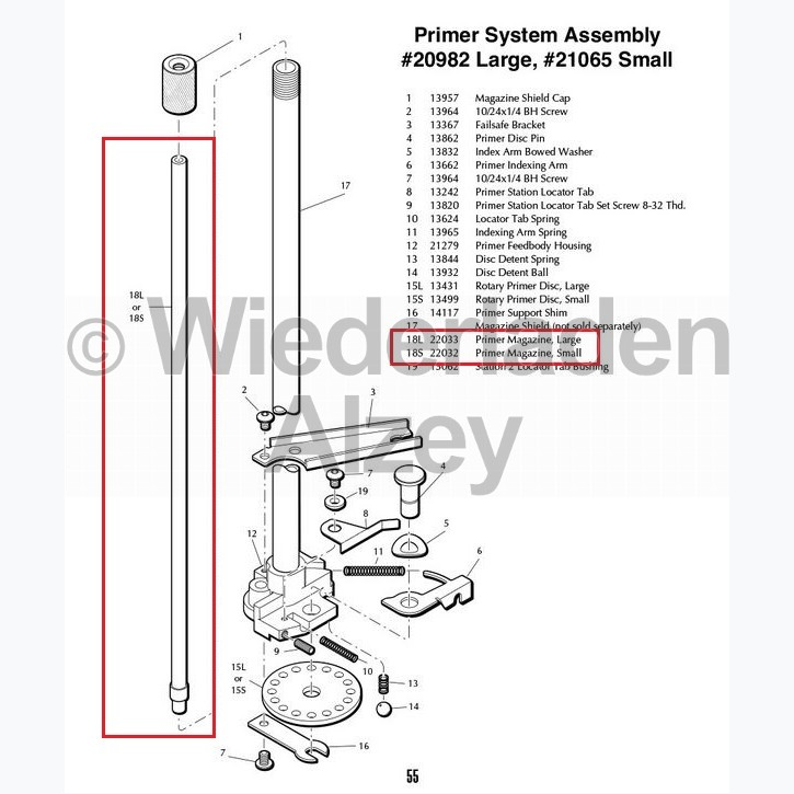 Dillon XL 650 / XL 750, Innenliegendes Ersatzmagazinrohr für Zündhütchensetzsystem, large, Art.-Nr.: 22033