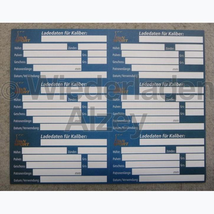 H&N, Aufkleber Set für Patronenbox zum Beschriften ihrer Ladedaten der wiedergeladenen Muntion, 25er Pack, Art.-Nr.: HNKENN