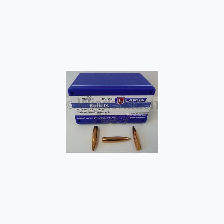 Lapua Geschosse, .308, 220 grain, HPBT, Scenar L, GB551, Wettkampfgeschosse