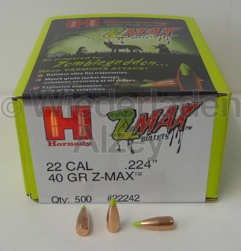 .224, 40 grain, Hornady Geschosse, Z-Max BT --> entspricht V-Max BT, Art.-Nr.: 22241 (100er Pack ist in neutraler Verpackung)