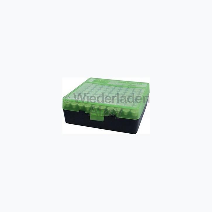 100er MTM Patronenbox, Klappdeckel, grün / schwarz .44 / .44 Mag., Art.-Nr.: P1004416T