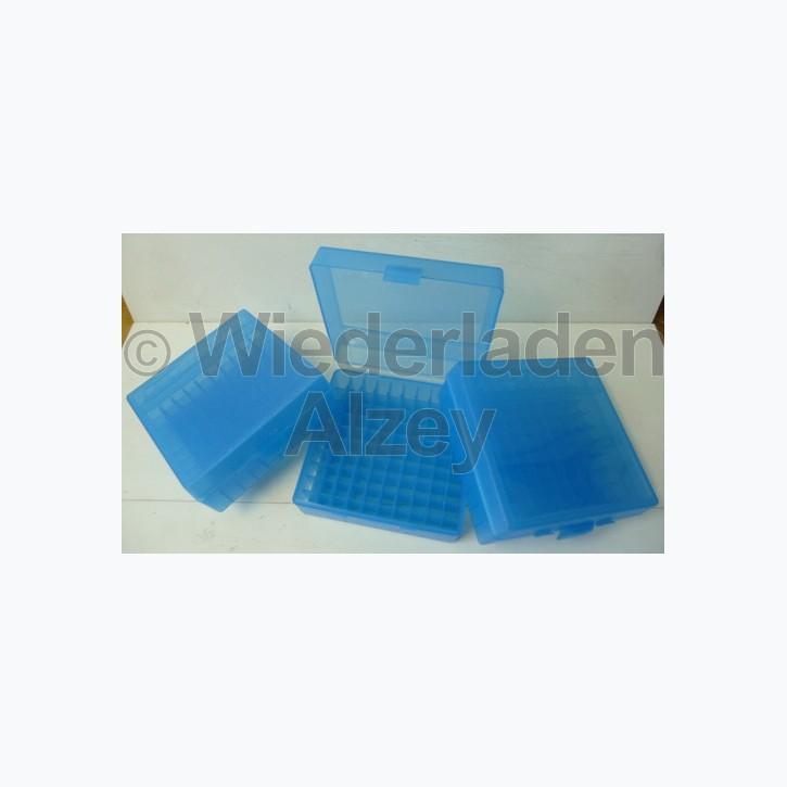 100er MTM Patronenbox, blau, .44 / .44 Mag.
