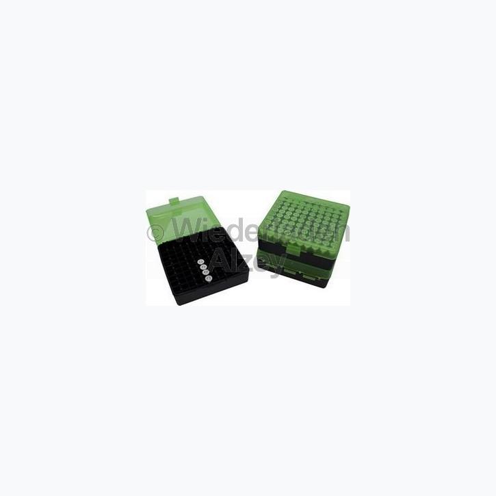 100er MTM Patronenbox, Klappdeckel, grün/schwarz, .45 ACP, Art.-Nr.: P-100-45-16T