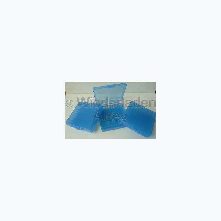 100er MTM Patronenbox, blau, .45 ACP