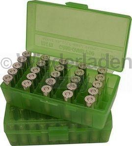 50er MTM Patronenbox, Klappdeckel, klar-grün, .38 / .357 Mag., Art.-Nr.: P50-38-16