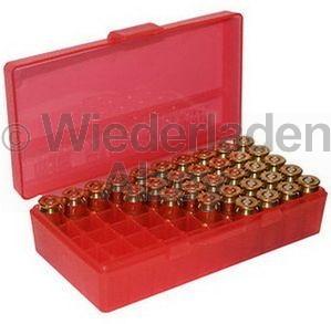 50er MTM Patronenbox, Klappdeckel, rot, .38 / .357 Mag., Art.-Nr.: P50-38-29