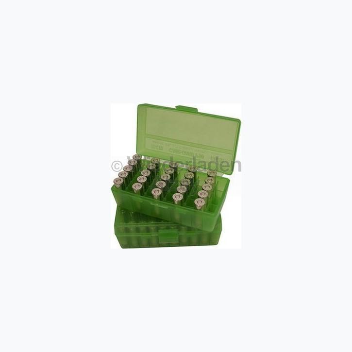 50er MTM Patronenbox, Klappdeckel, klar-grün, .44 / .44 Mag., Art.-Nr.: P50-44-16