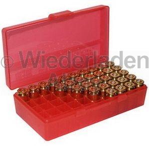50er MTM Patronenbox, Klappdeckel, rot, .45 ACP, Art.-Nr.: P50-45-29