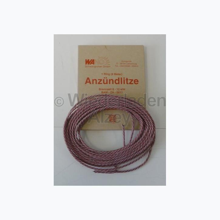 Anzündlitze, 8 Meter, D. 3 mm, Brenngeschwindigkeit 8-12 sec. / min., rot