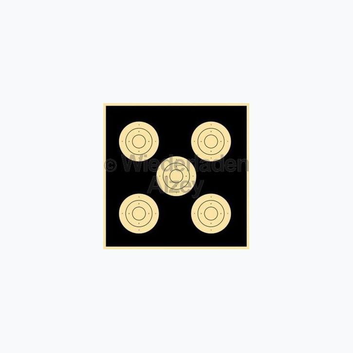 1 Stück Großkaliber-Finalscheibe, 55 x 52 cm, 3kreisig, Ø der 5 Trefferflächen je 150 mm, ohne fortlaufende Nummer.