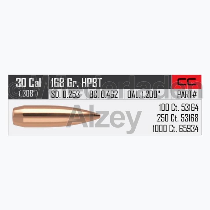.308, 168 grain, Nosler Geschosse, CUSTOM COMPETITION, HPBT, Art.-Nr.: 65934, neutrale Verpackung