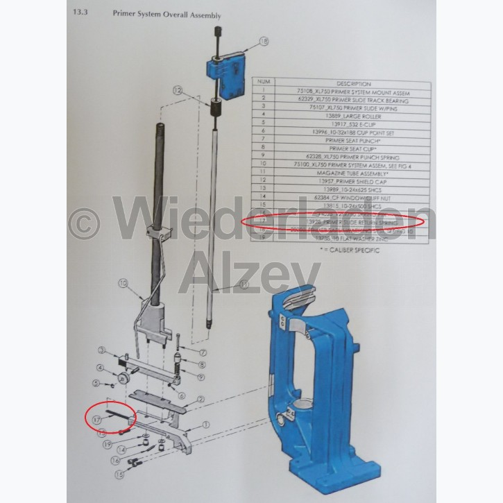 Dillon XL 750, Rückholfeder für Gleitschieber - Primer Slide Return Spring , Art.-Nr.: 13928
