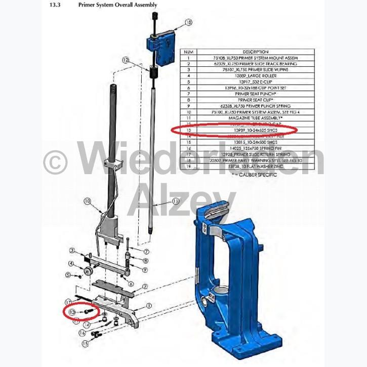 Dillon XL 750, Schraube für Gleitschienenlager - 10-24x625 SHCS, Art.-Nr.: 13989