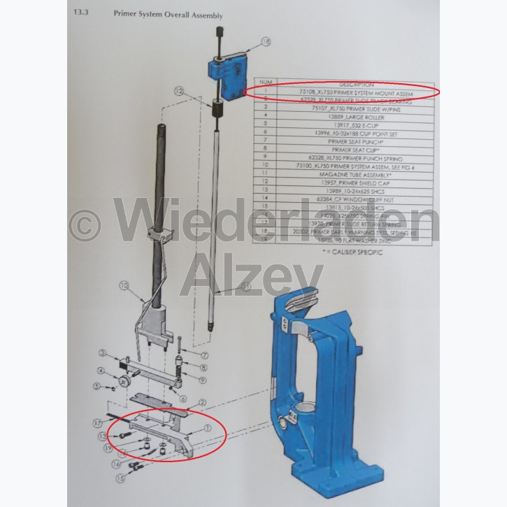 Dillon XL 750, Zündhütchen Gleitschienenlager, kpl. - Primer System Mount Assy, Art.-Nr.: 75108