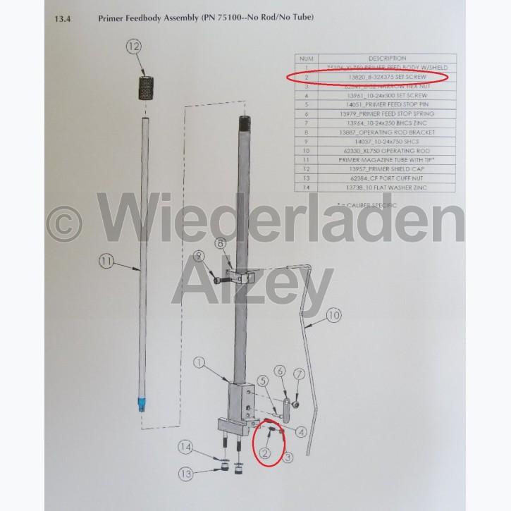 Dillon XL 750, Sicherungsschraube für Zündhütchengehäuse - 8-32x375 Set Screw, Art.-Nr.: 13820