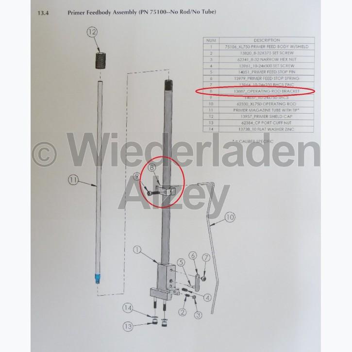 Dillon XL 750, Halter für Betätigungsstange - Operating Rod Bracket, Art.-Nr.: 13887