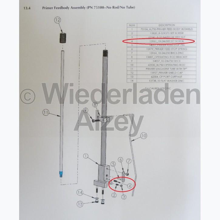 Dillon XL 750, Sicherungsschraube für Zündhütchengehäuse - 10-24x500 Set Screw, Art.-Nr.: 13961