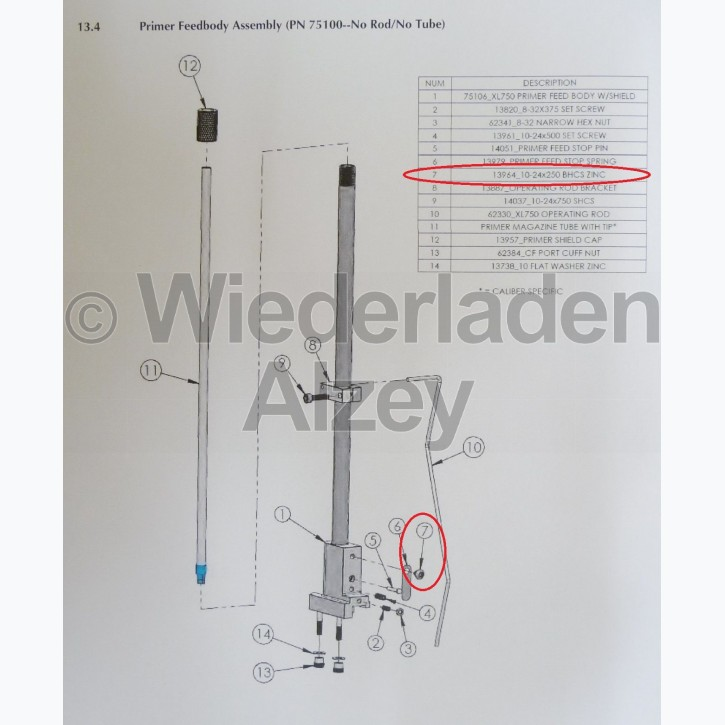 Dillon XL 750, Schraube für Zündhütchenstopper - 10-24x250 BHCS Zinc, Art.-Nr.: 13964