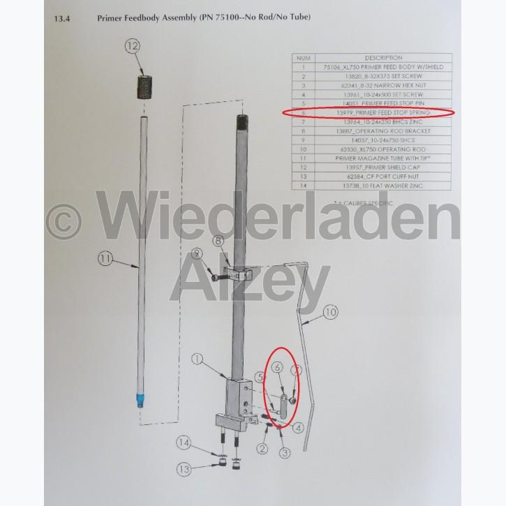 Dillon XL 750, Feder für Zündhütchenstopper - Primer Feed Stop Spring, Art.-Nr.: 13979