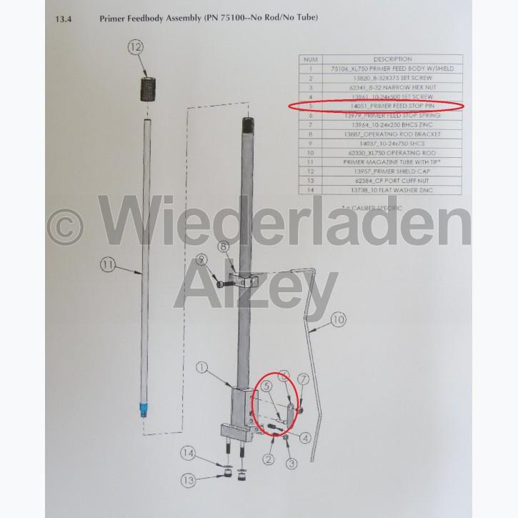 Dillon XL 750, Zündhütchenstopper - Primer Feed Stop Pin , Art.-Nr.: 14051