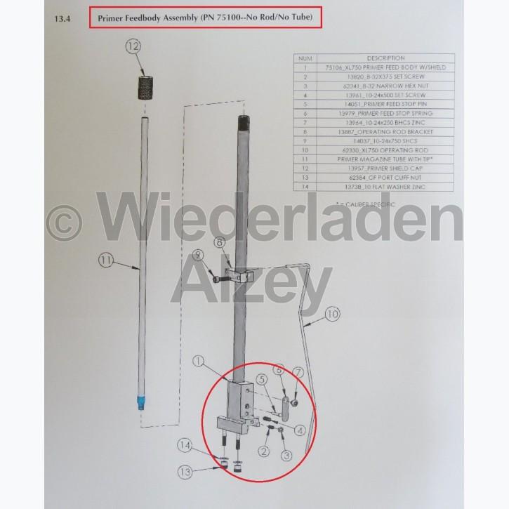 Dillon XL 750, Zündhütchensetzsystem, kpl. (ohne Stange und Rohr) - Primer System Assy, Art.-Nr.: 75100