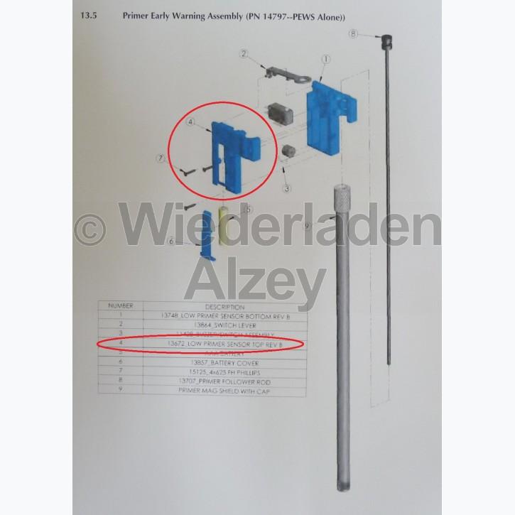 """Dillon, Gehäuseoberteil von Zündhütchenwarner, Version """"B"""" - Low Primer Sensor Top Rev B, Art.-Nr.: 13672"""