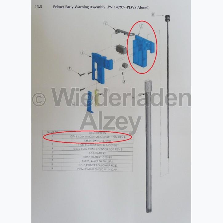 """Dillon, Gehäuseunterteil von Zündhütchenwarner, Version """"B"""" - Low Primer Sensor Bottom REV B , Art.-Nr.: 13748"""