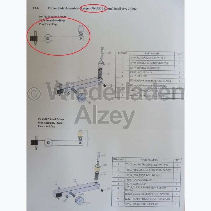 Dillon XL 750, Zündhütchenzuführung kpl., large - Primer Slide Assy-Large, Art.-Nr.: 75101