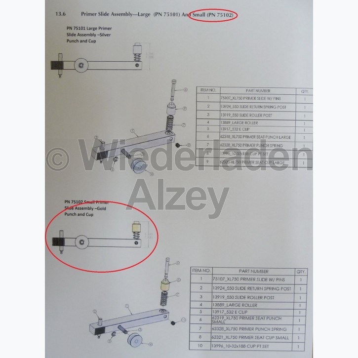 Dillon XL 750, Zündhütchenzuführung kpl., small - Primer Slide Assy-Small, Art.-Nr.: 75102