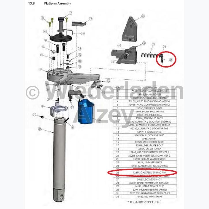 Dillon XL 650 / XL 750, Hülsen-Einsetzschieber-Federschraube - Case Insert Slide Spring Pin, Art.-Nr.: 13311