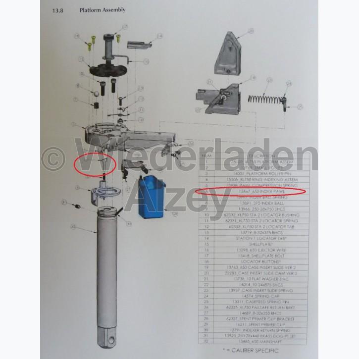 Dillon XL 650 / XL 750, Umsetzklinke in Basisplattform - Index Pawl, Art.-Nr.: 13667