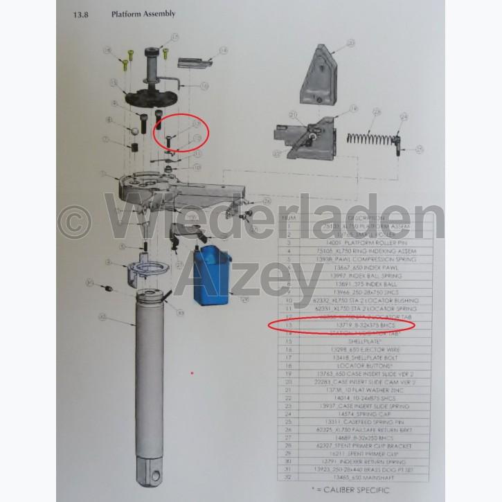 Dillon XL 750, Schraube in Basisplattform - 8-32x375 BHCS, Art.-Nr.: 13719