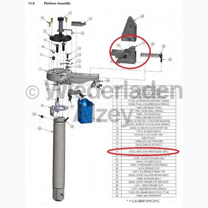 Dillon XL 650 / XL 750, Hülsen-Einsetzschieber, kpl., Version 2 - Case Insert Slide, assy, Ver 2, Art.-Nr.: 13763