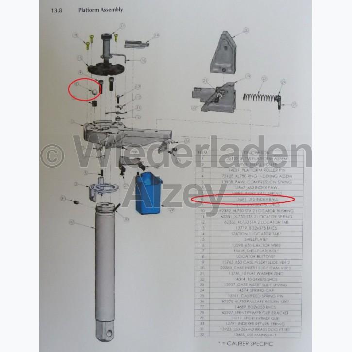 Dillon XL 750, Justierkugel in Basisplattform - Index Ball Spring, Art.-Nr.: 13891