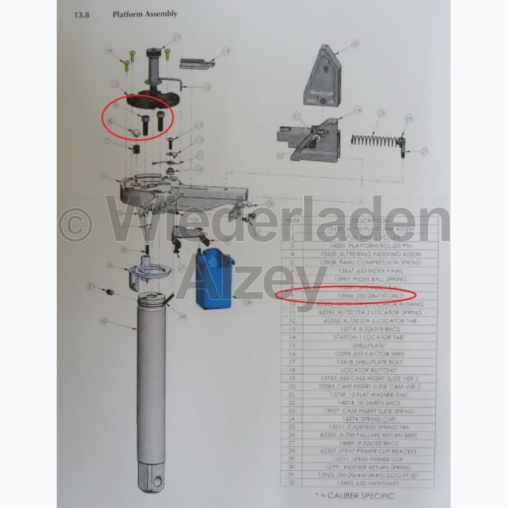 Dillon XL 650 / XL 750, Befestigungsschraube für Basisplattform - 250-28x750SHCS, Art.-Nr.: 13966