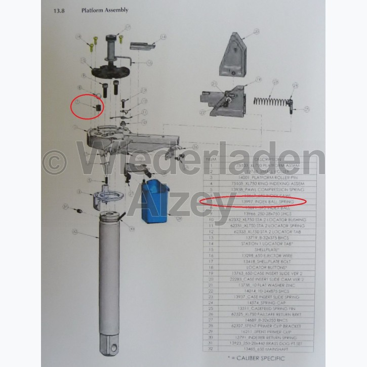 Dillon XL 750, Feder für Justierkugel in Basisplattform - Index Ball Spring, Art.-Nr.: 13997