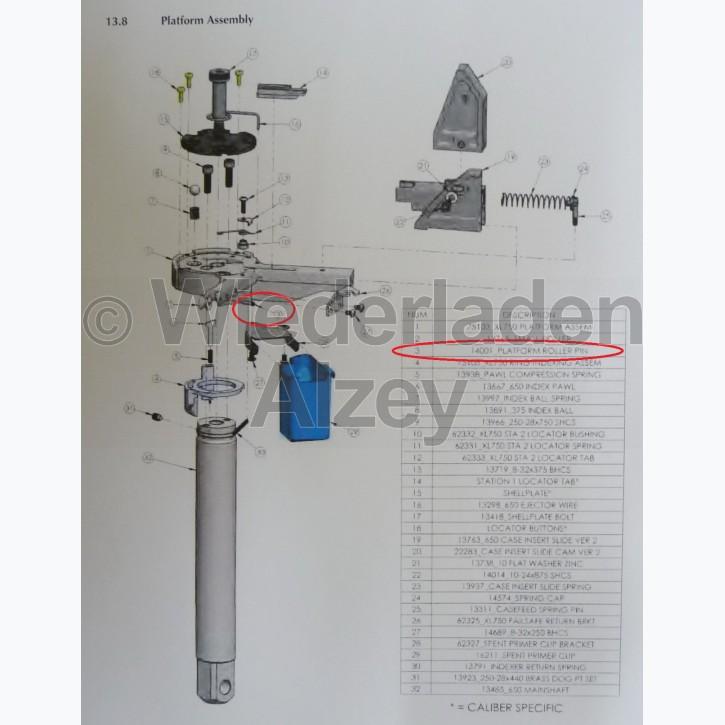 Dillon XL 750, Lagerstift für Walze an Basisplattform - Platform Roller Pin, Art.-Nr.: 14001