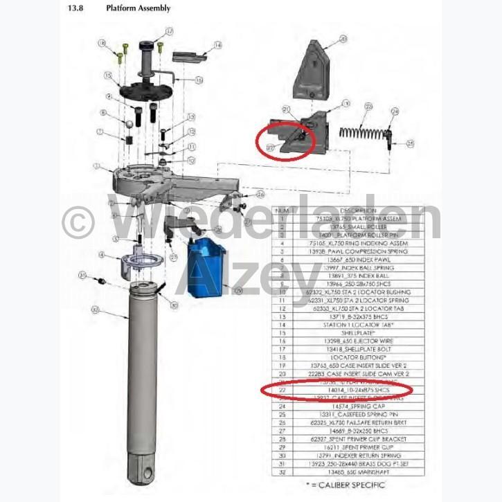 Dillon XL 650 / XL 750, Schraube am Hülsen-Einsetzschieber, Version 2 - 10-24x875 SHCS , Art.-Nr.: 14014