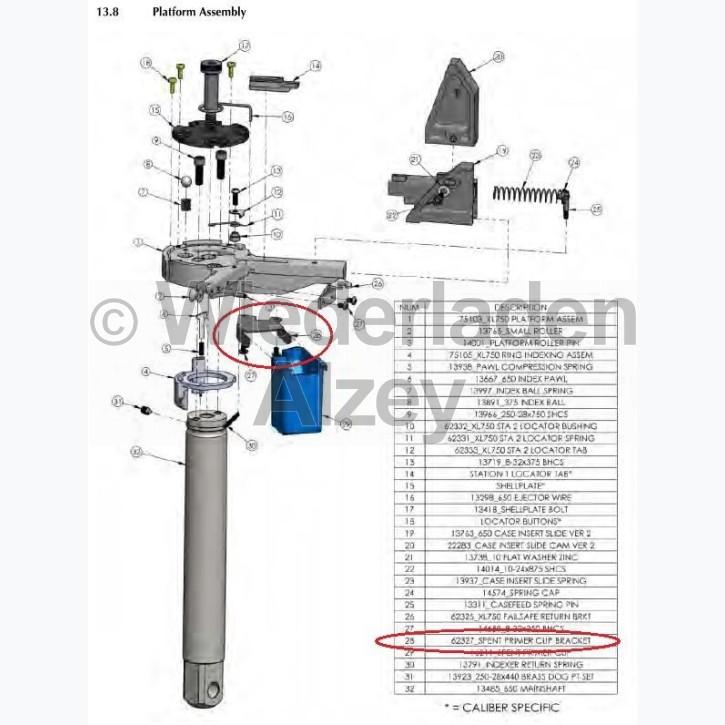Dillon XL 750, Halterung für Auffangbehälter - Spent Primer Clip Bracket, Art.-Nr.: 62327