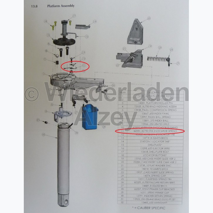 Dillon XL 750, Fixierfeder in Basisplattform - Sta 2 Locator Spring, Art.-Nr.: 62331