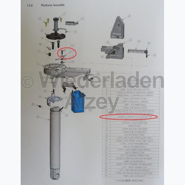 Dillon XL 750, Positionierer in Basisplattform - Sta 2 Locator Tab, Art.-Nr.: 62333