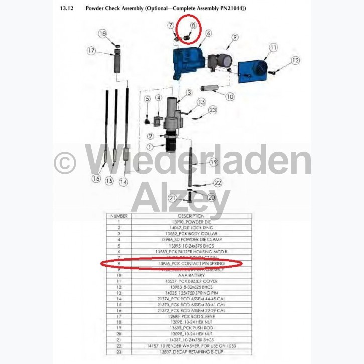 Dillon XL 650 / XL 750, Kontaktstiftfeder - Contact Pin Spring, Art.-Nr.: 13956