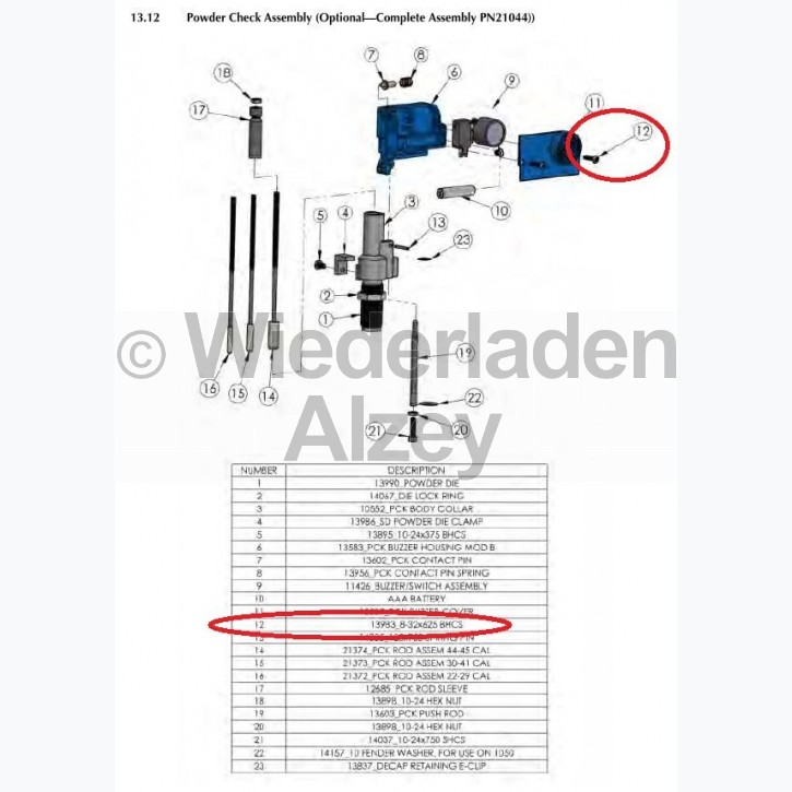 Dillon XL 650 / XL 750, Deckelschraube - Cover Screw, 8-32x625 BHCS, Art.-Nr.: 13983